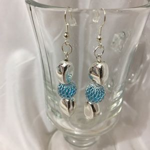 #433– silver tone blue bead hook earrings